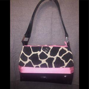 B's Plush Giraffe & Black Pleather Trimmed Satchel